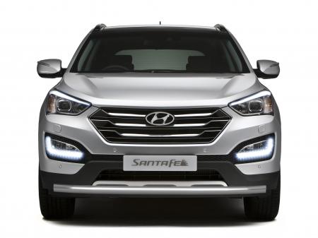 Защита переднего бампера одинарная d63мм Hyundai Santa Fe (нерж) 2013